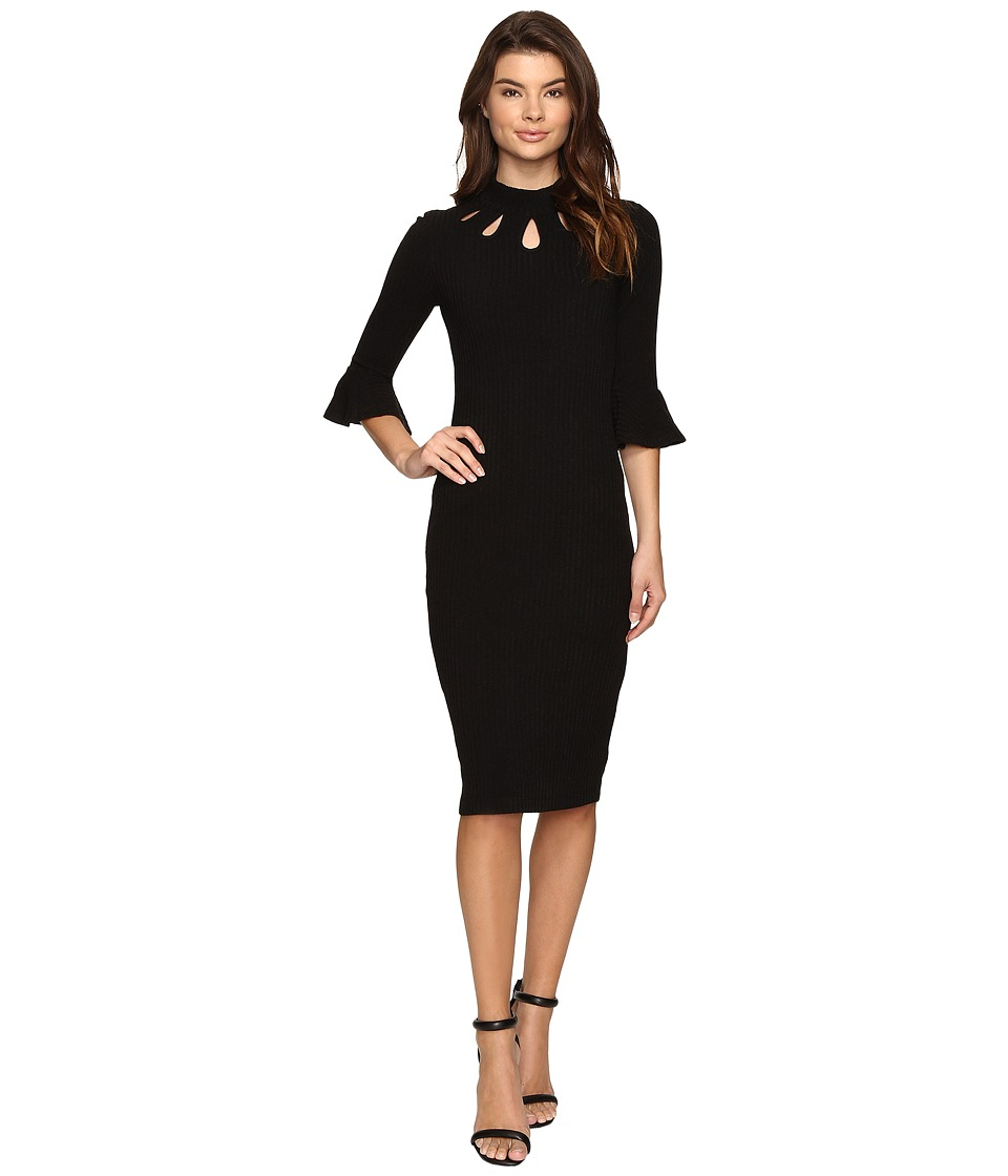 Christin Michaels - Asha Bell Sleeve Keyhole Midi Dress (Black) Women's Dress
