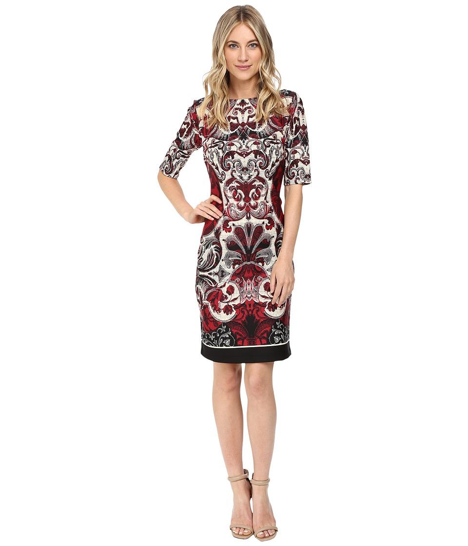 Christin Michaels - Kyra Short Sleeve Scuba Dress (Red/Off-White) Women's Dress