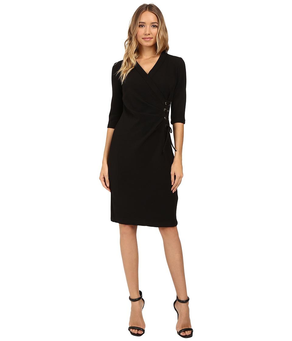 Christin Michaels Jullie 3/4 Sleeve Wrap Dress (Black) Women