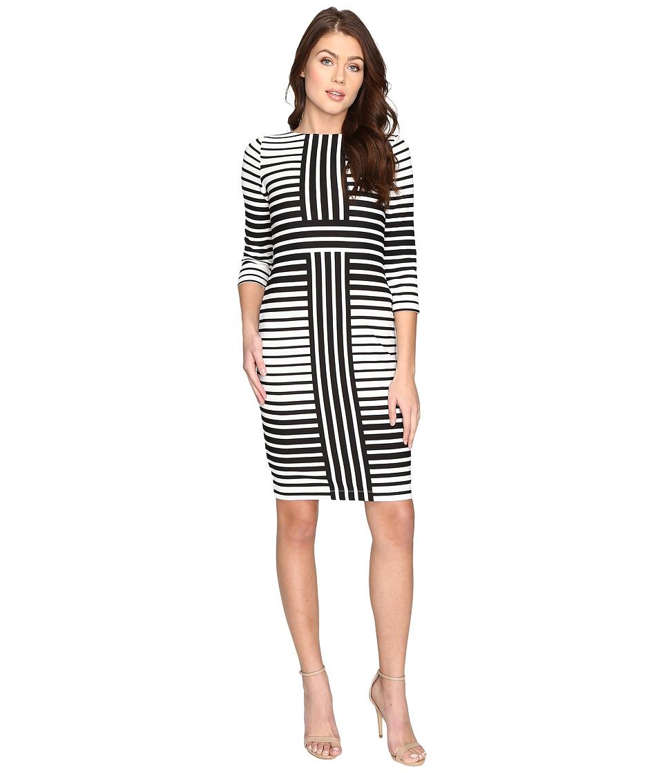 Christin Michaels - Ireni Contrast Stripe Bodycon Midi Dress (Ivory/Black) Women's Dress