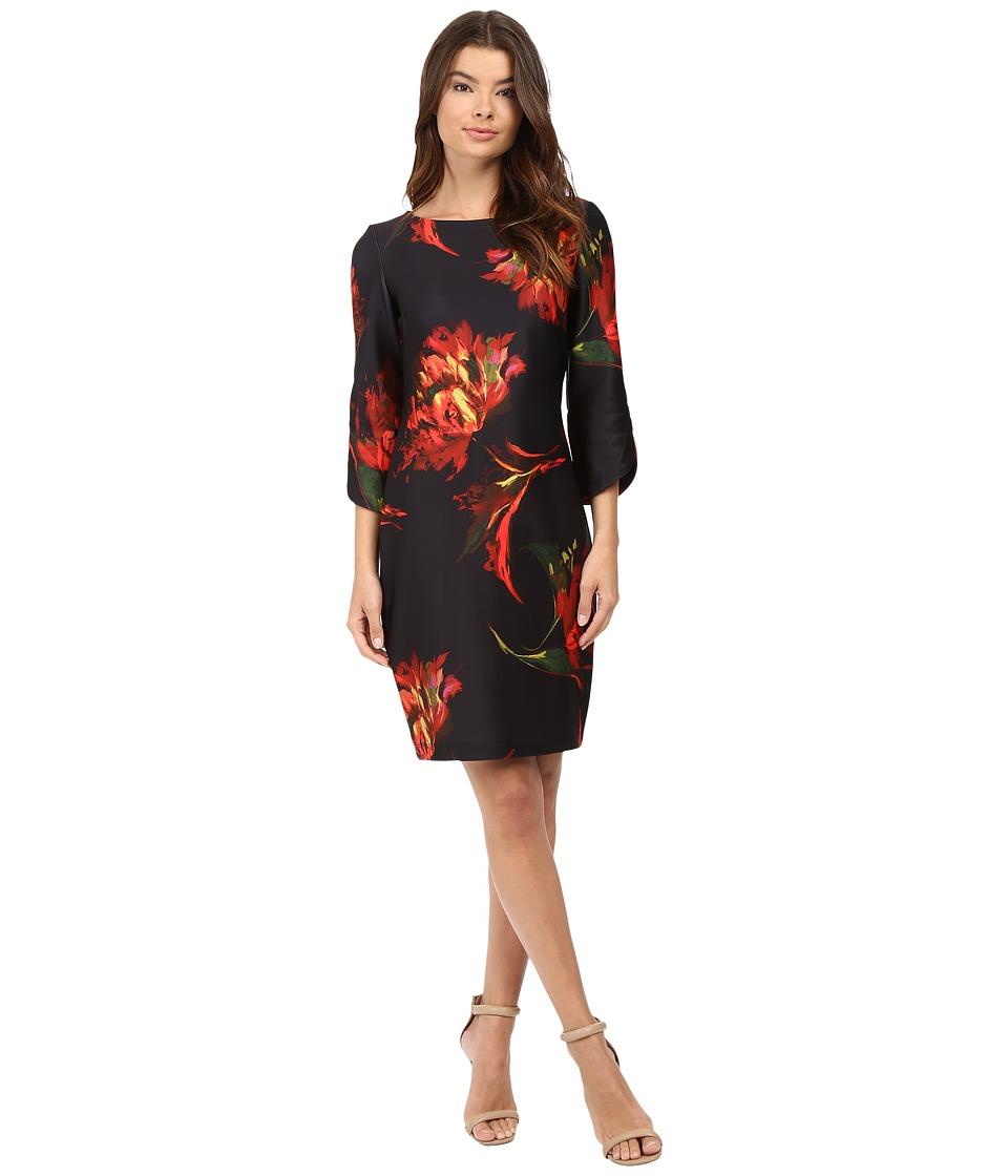 Christin Michaels - Jeane Floral Print 3/4 Sleeve Dress (Black/Pink) Women's Dress