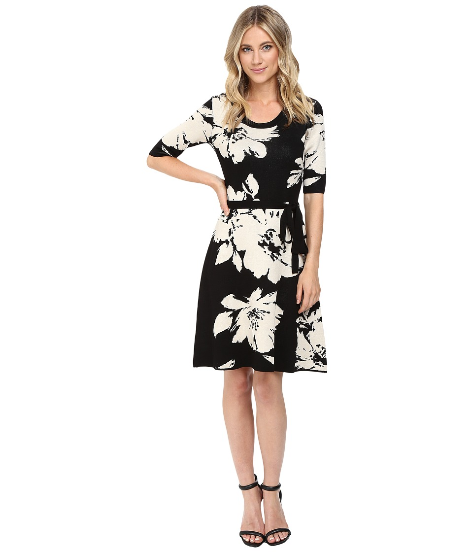 Christin Michaels Jainne Floral Sweater Dress with Belt (Black/Off-White) Women
