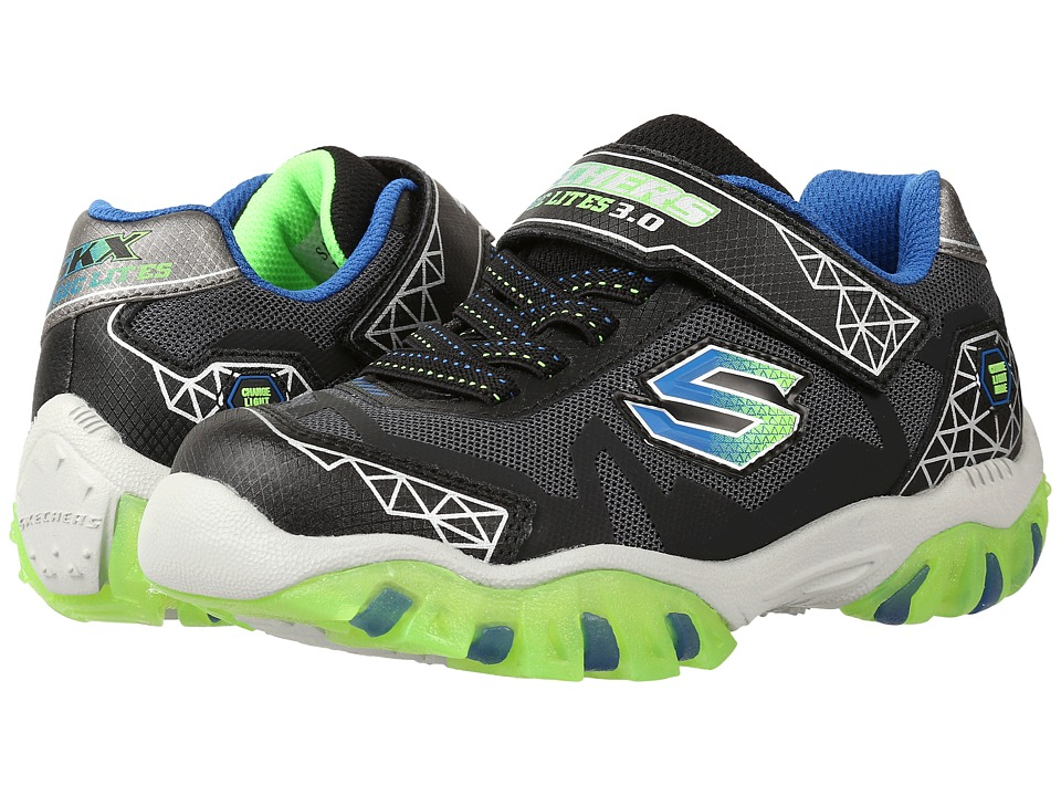 SKECHERS KIDS - Street Lightz 2.0 90560L Lights (Little Kid) (Black/Blue/Lime) Boys Shoes
