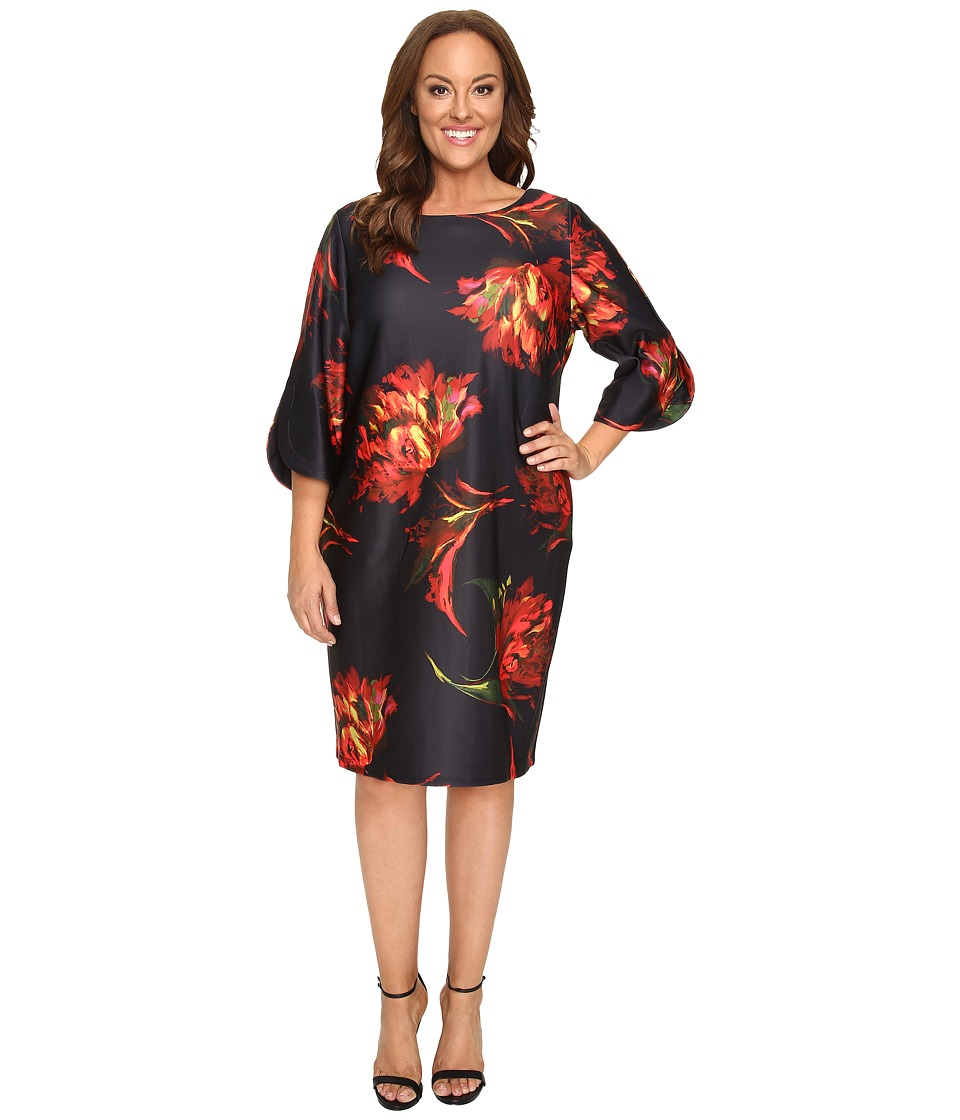 Christin Michaels - Plus Size Jeane Floral Print 3/4 Sleeve Dress (Black/Pink) Women's Dress