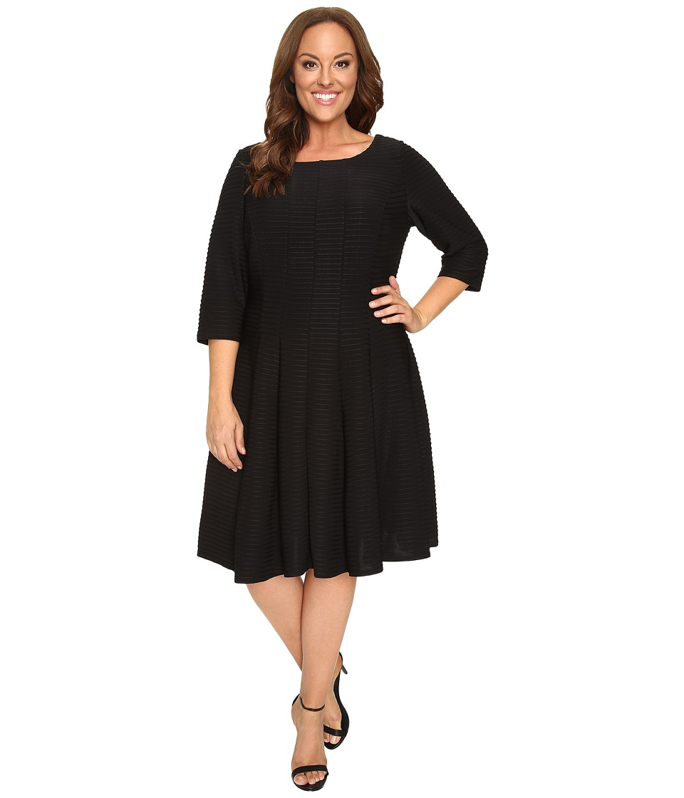 Christin Michaels - Plus Size Andrea 3/4 Sleeve Fit and Flare Dress (Black) Women's Dress