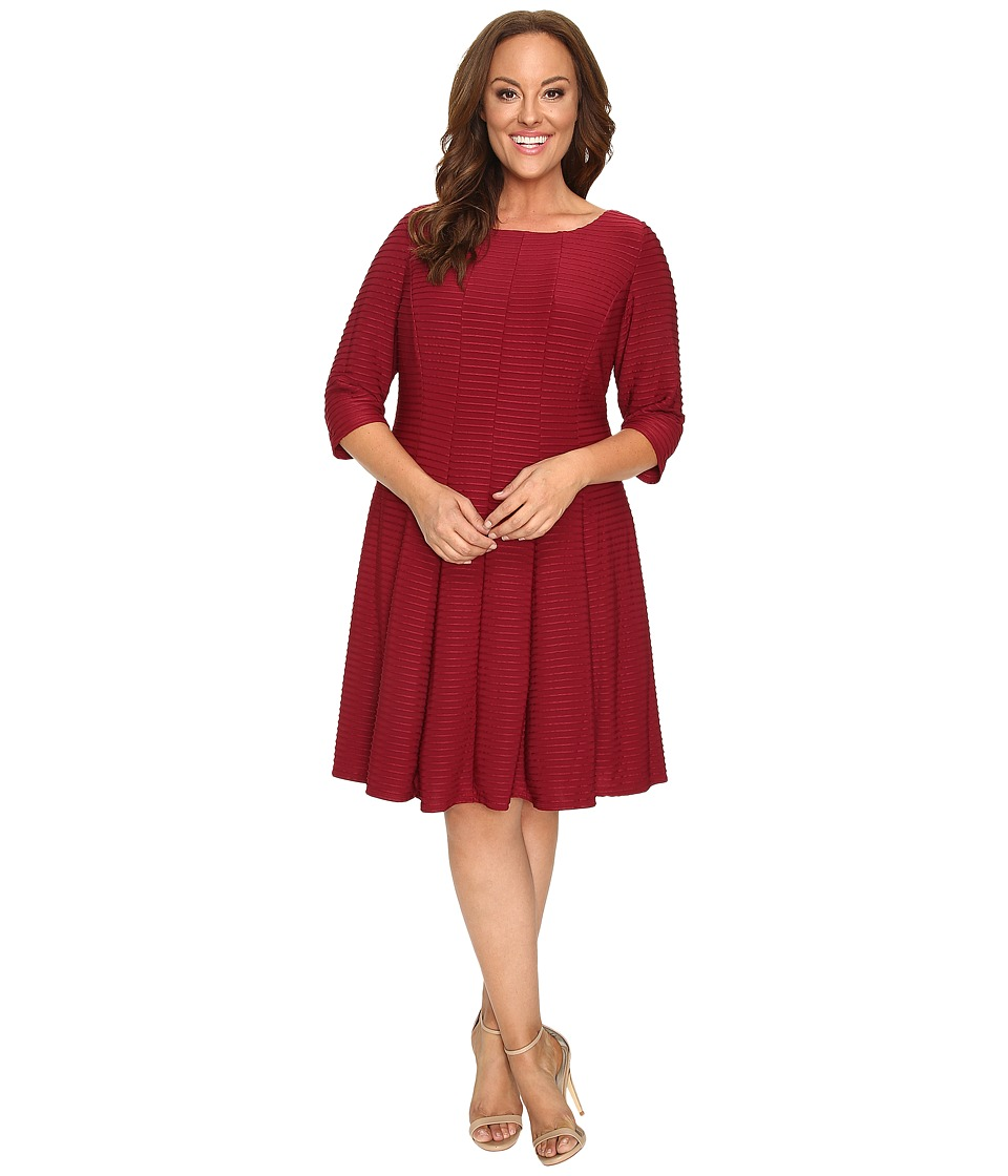 Christin Michaels - Plus Size Andrea 3/4 Sleeve Fit and Flare Dress (Garnet) Women's Dress