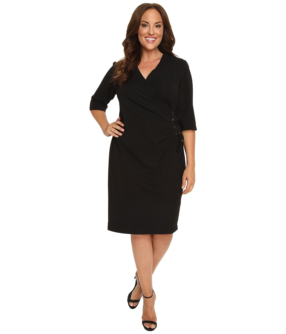 Christin Michaels - Plus Size Jullie 3/4 Sleeve Wrap Dress (Black) Women's Dress