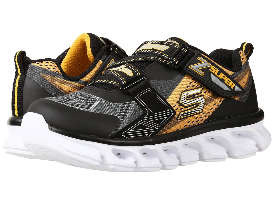 SKECHERS KIDS - Hypno - Flash 90580L Lights (Little Kid) (Charcoal/Gold/Black) Boys Shoes