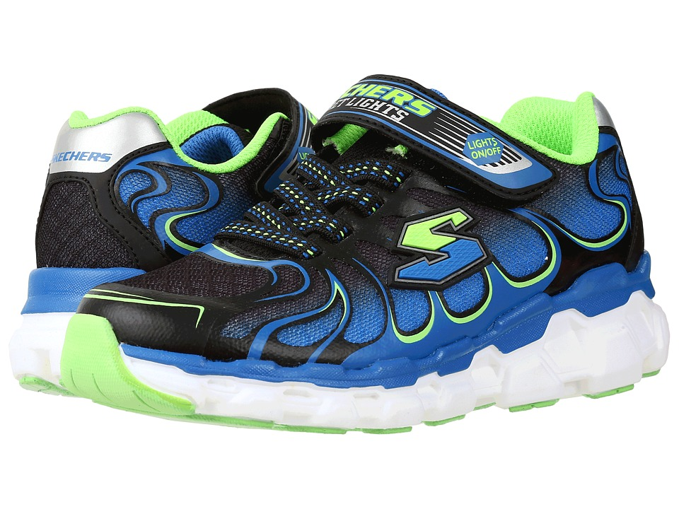 SKECHERS KIDS - Skech Rayz 90570L Lights (Little Kid) (Blue/Black/Lime) Boys Shoes