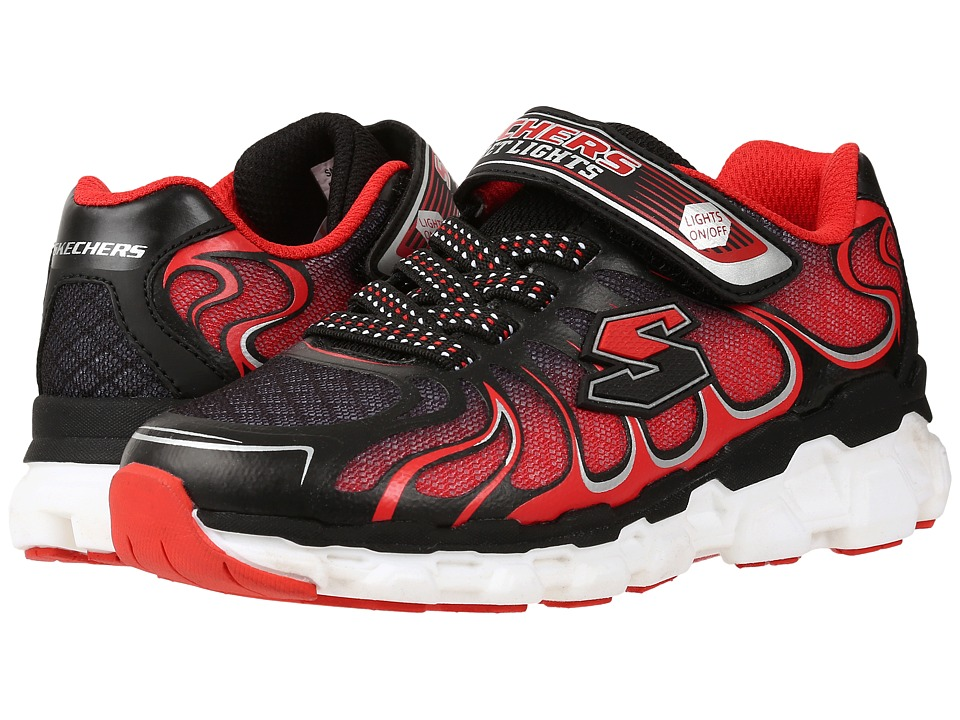 SKECHERS KIDS - Skech Rayz 90570L Lights (Little Kid) (Black/Red) Boys Shoes