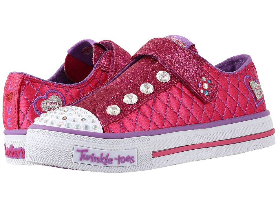 SKECHERS KIDS - Twinkle Toes - Sparkly Jewels 10689L Lights (Little Kid/Big Kid) (Hot Pink/Purple) Girls Shoes
