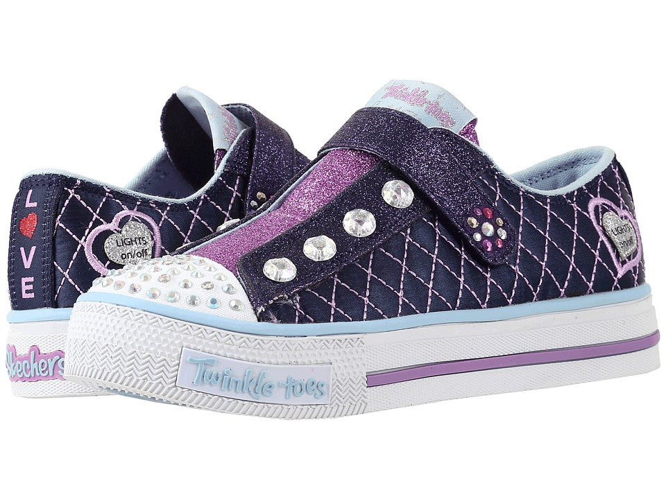 SKECHERS KIDS - Twinkle Toes - Sparkly Jewels 10689L Lights (Little Kid/Big Kid) (Navy/Light Blue) Girls Shoes