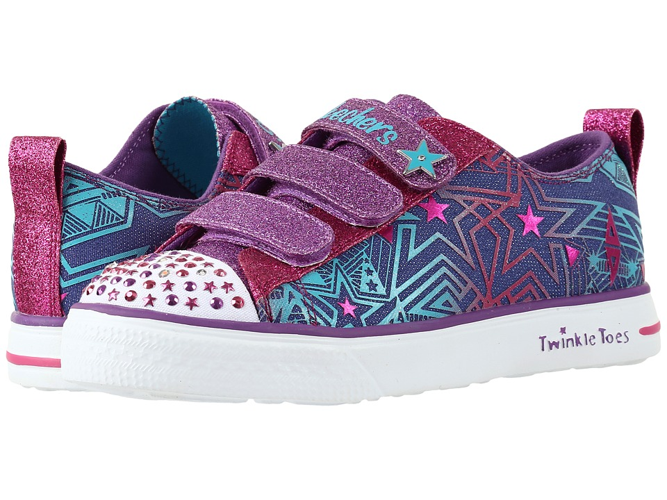 SKECHERS KIDS - Twinkle Toes - Twinkle Breeze 10728L Lights (Little Kid/Big Kid) (Denim/Multi) Girls Shoes