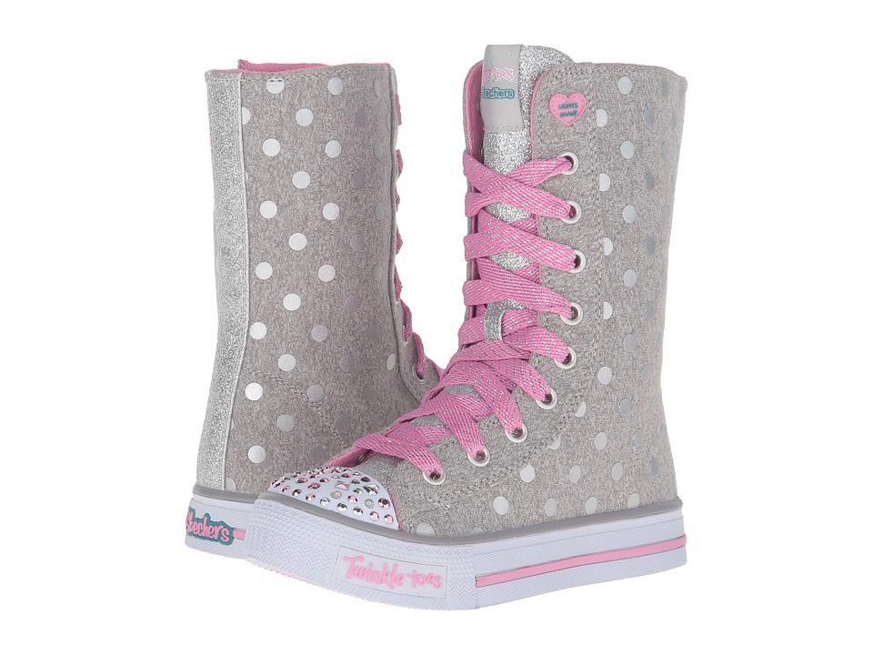 SKECHERS KIDS - Twinkle Toes - Shuffles 10661L Lights (Little Kid/Big Kid) (Grey/Pink) Girls Shoes