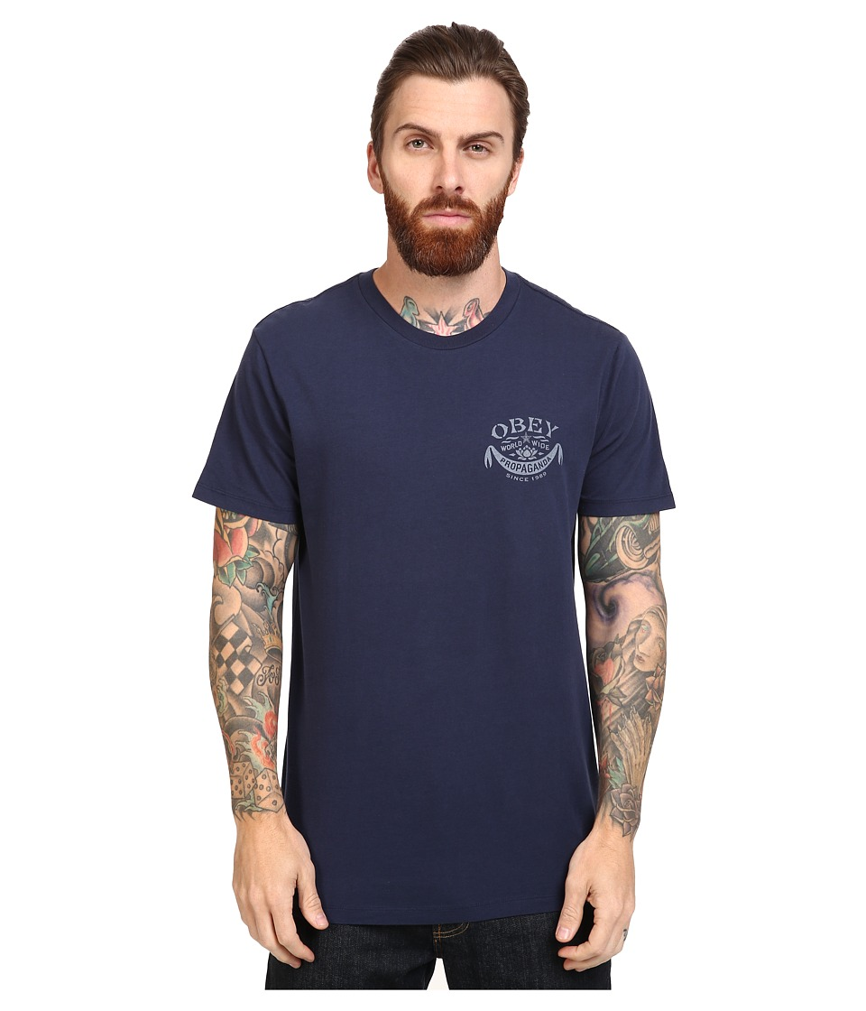 Obey - Lotus Banner (Navy) Men's T Shirt
