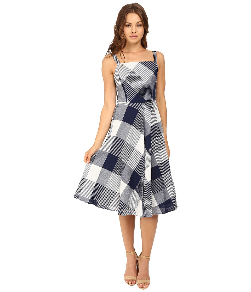 Christin Michaels Amie Seersucker Gingham Fit and Flare Dress (Navy/White) Women