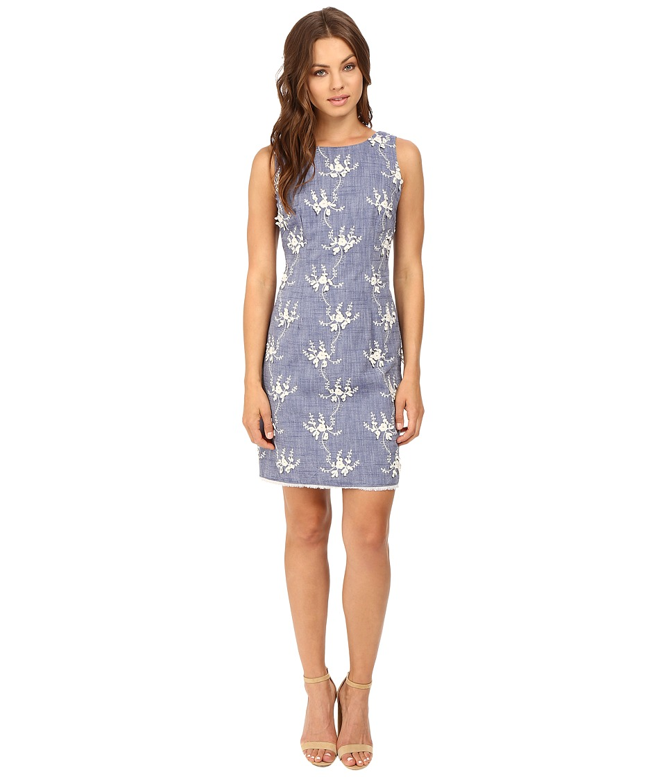 Christin Michaels - Evie Chambray Embroidered Shift Dress (Blue) Women's Dress