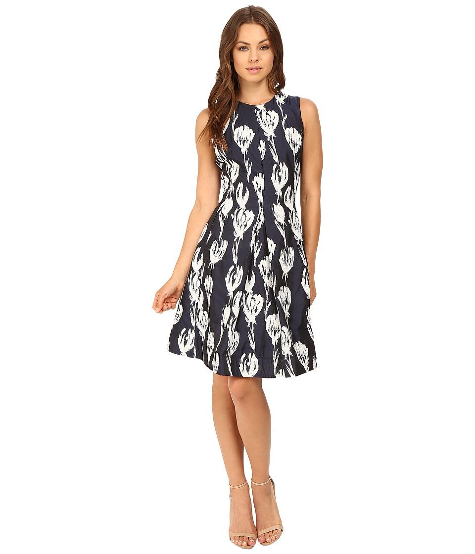 Christin Michaels Alesha Tulip Jacquard Dress (Navy/Ivory) Women
