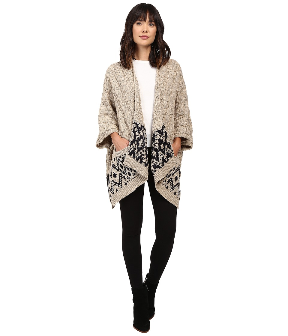 Christin Michaels - Natallia Cable Knit Aztec Poncho (Beige) Women's Coat