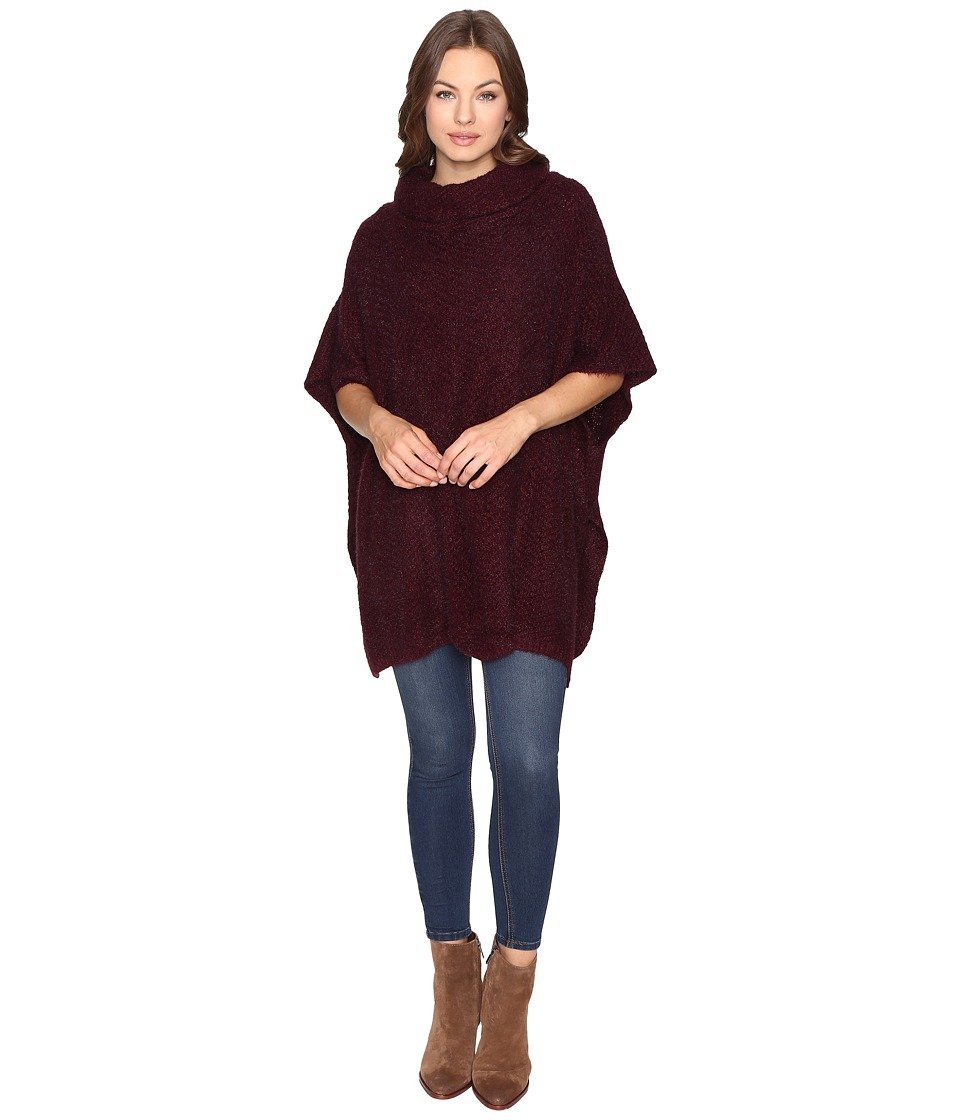 Christin Michaels - Kimber Turtleneck Poncho (Burgundy) Women's Coat