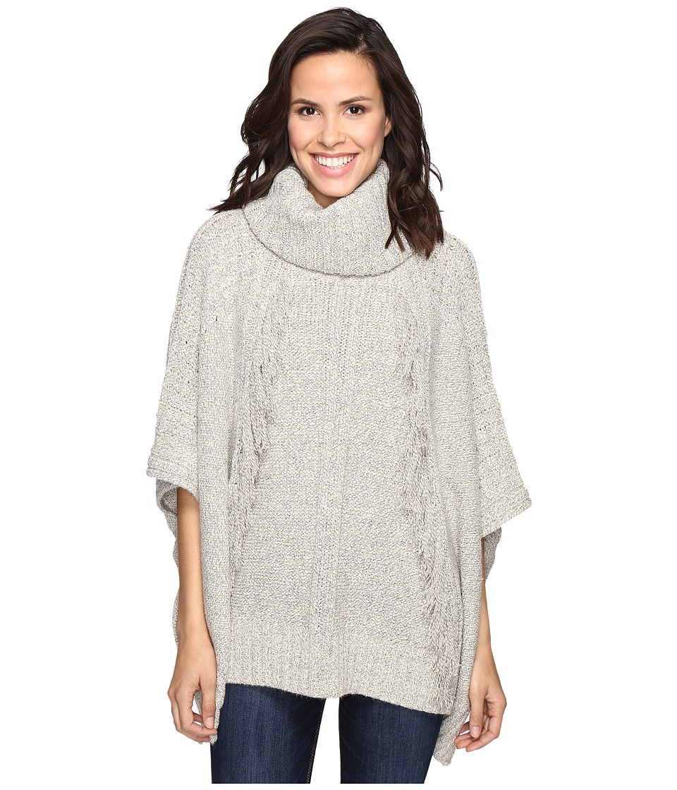 Christin Michaels - Feya Fringe Turtleneck Poncho (Beige) Women's Coat
