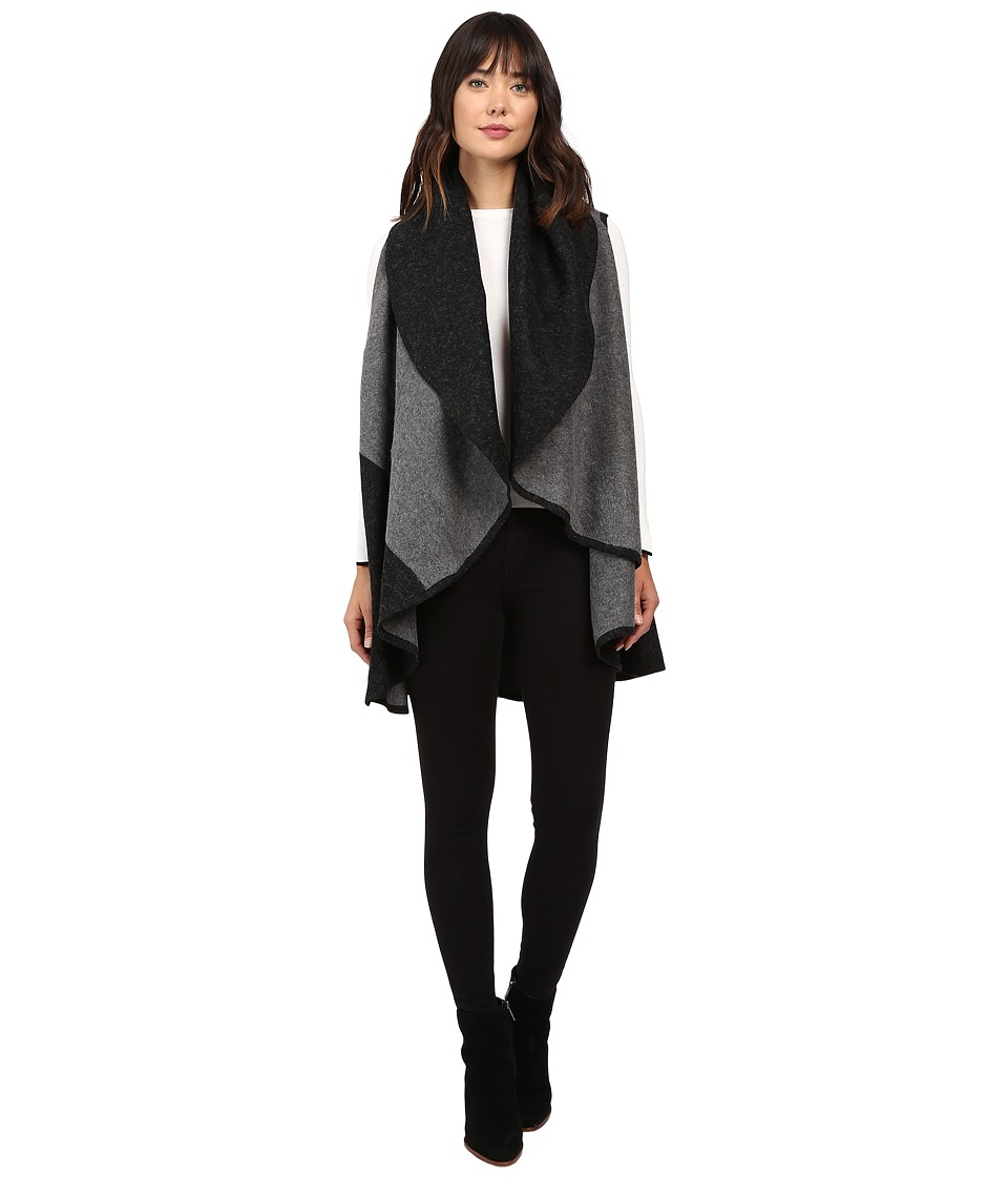 Christin Michaels - Thylane Two-Tone Shawl Vest (Black/Grey) Women's Vest