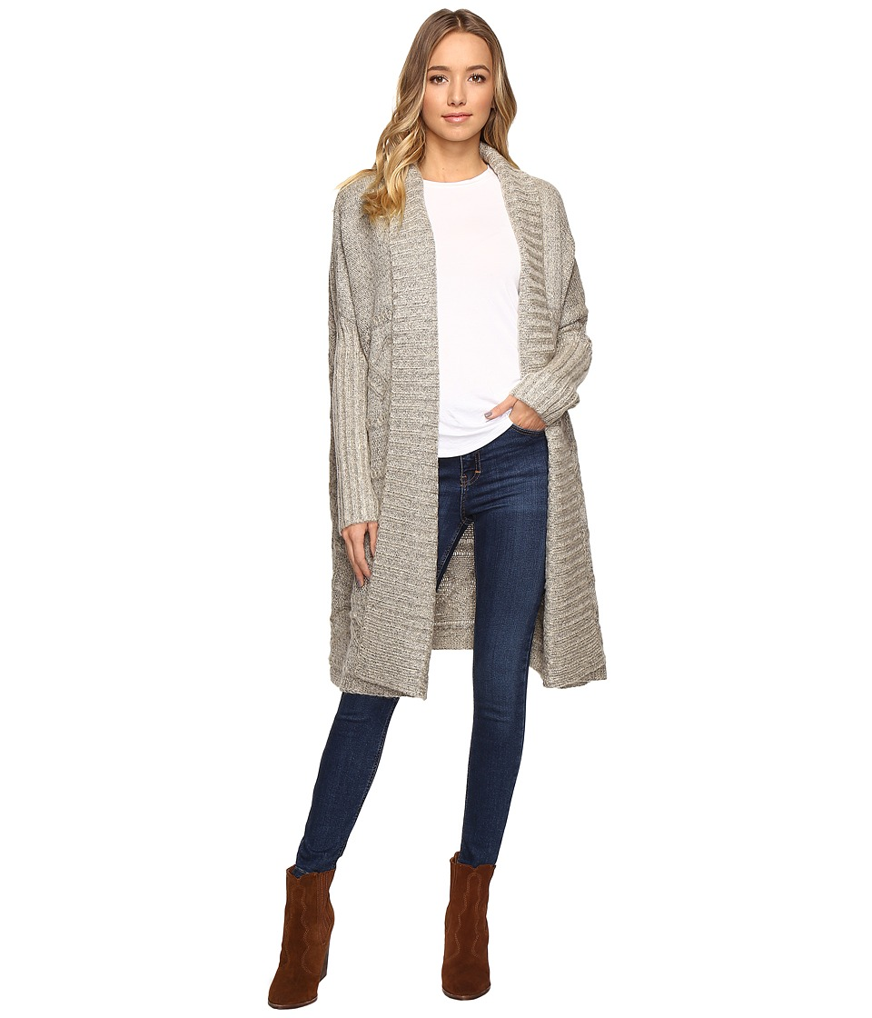 Christin Michaels - Zienna Collared Cable Knit Long Cardigan (Beige) Women's Clothing