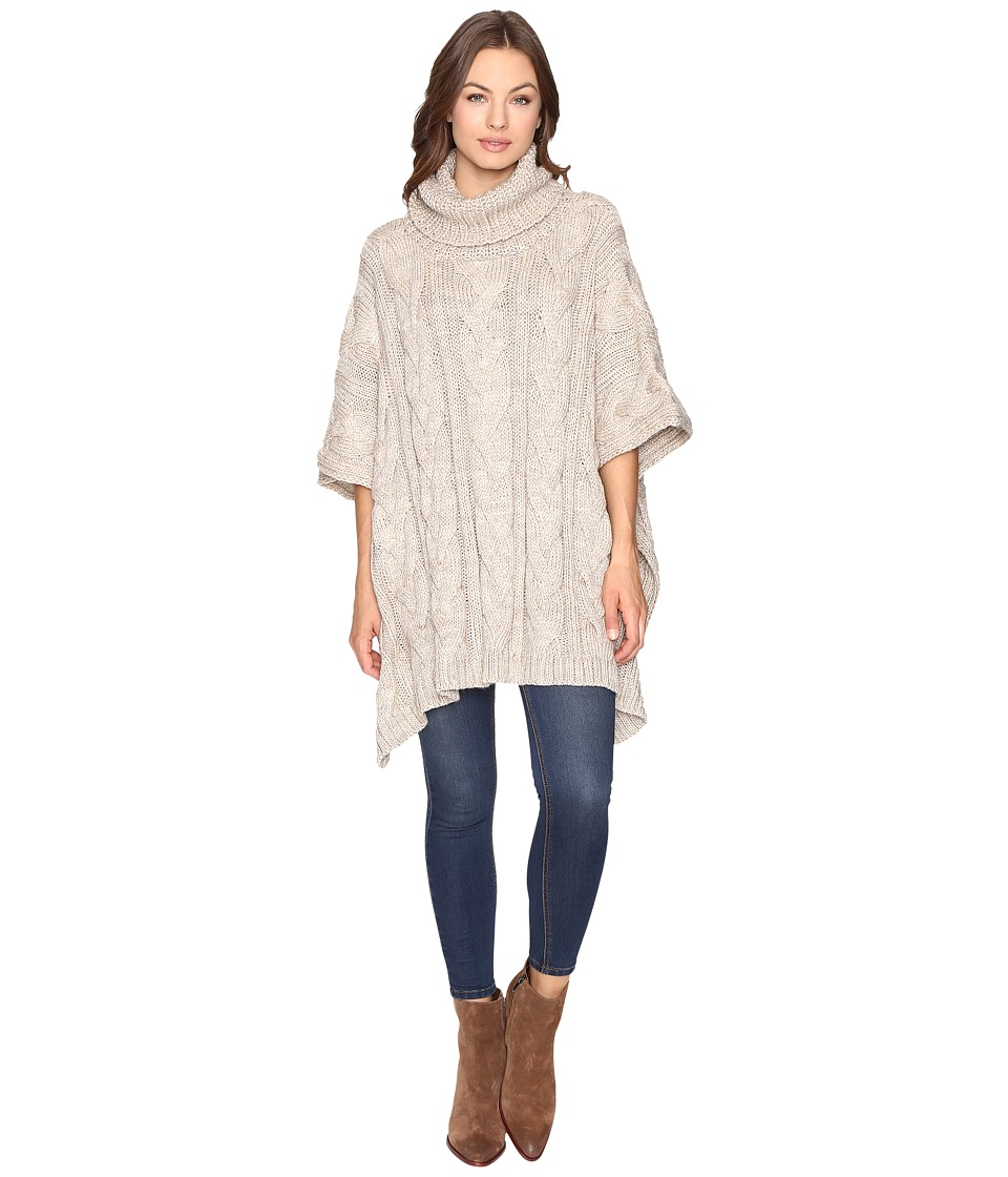 Christin Michaels - Maia Cable Knit Turtleneck Poncho (Beige) Women's Coat