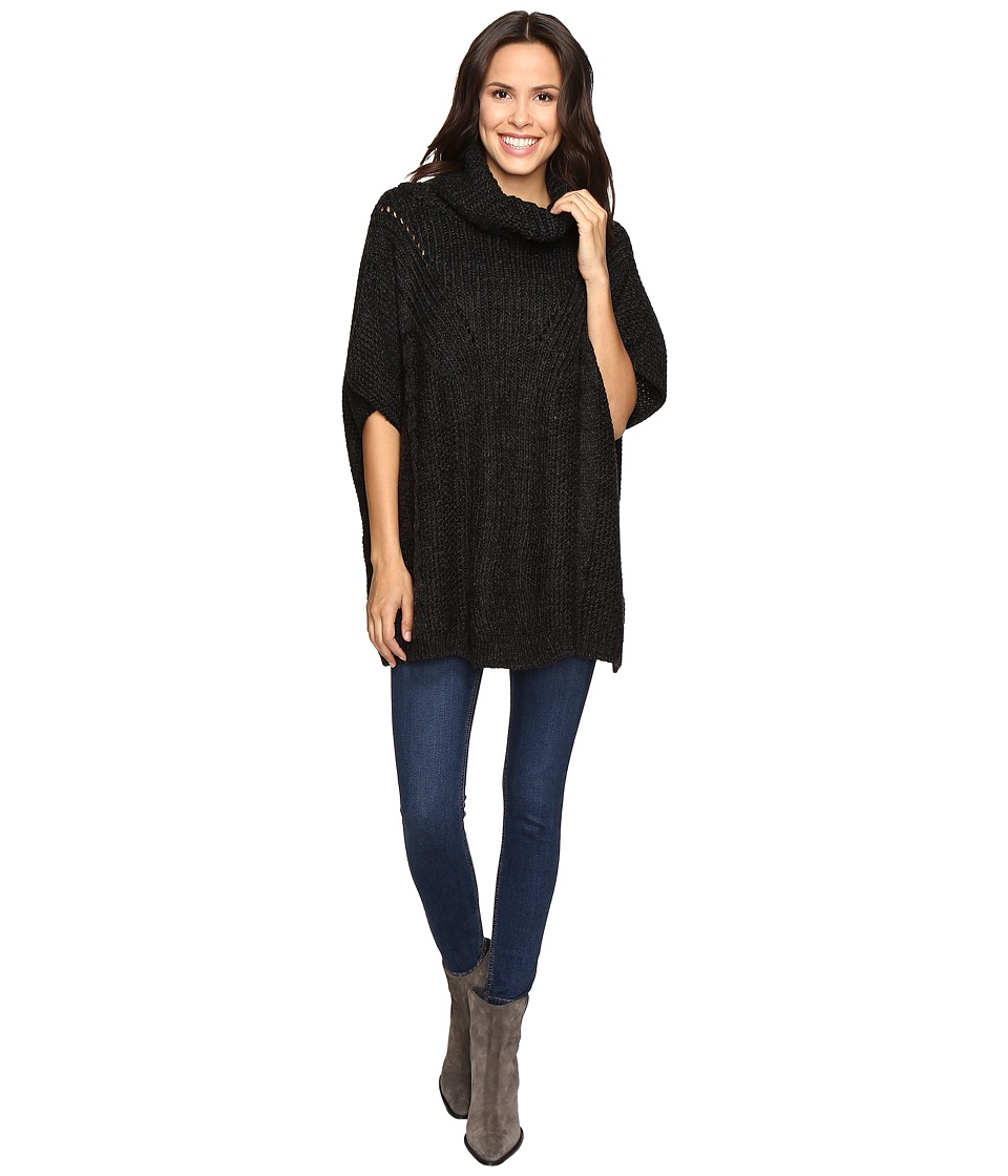 Christin Michaels - Nell Crochet Eyelet Poncho (Charcoal) Women's Coat