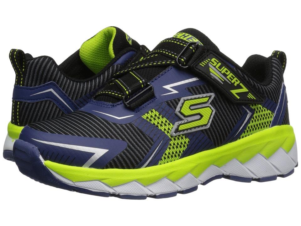 SKECHERS KIDS - Zipperz 95970L (Little Kid/Big Kid) (Black/Navy/Lime) Boy's Shoes
