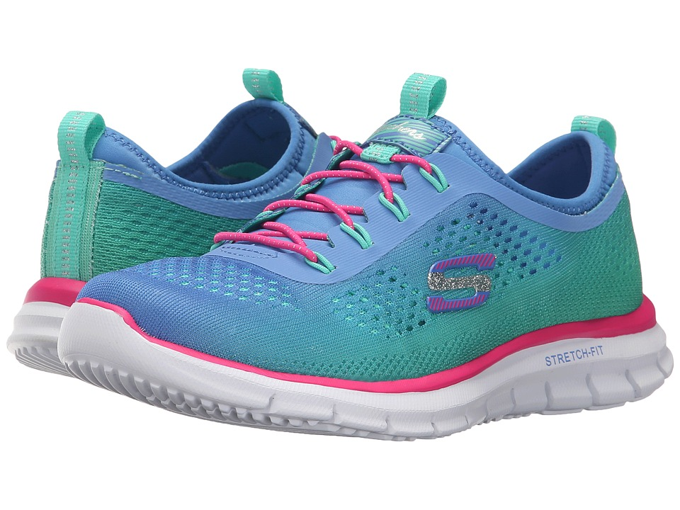 SKECHERS KIDS - Glider - Fearless 81286L (Little Kid/Big Kid) (Blue/Mint/Pink) Girl's Shoes