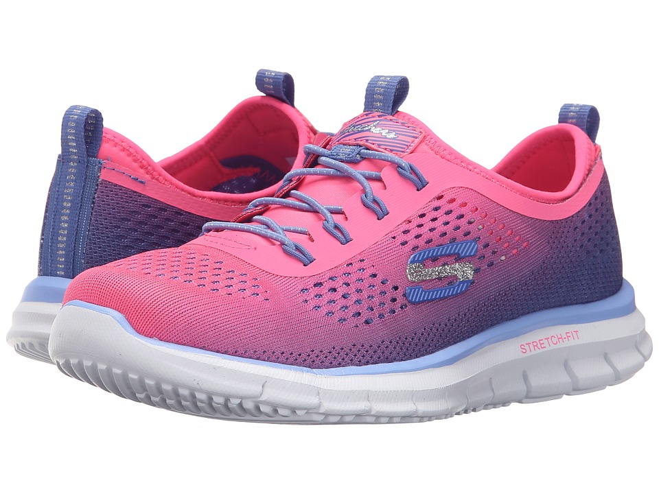 SKECHERS KIDS - Glider - Fearless 81286L (Little Kid/Big Kid) (Neon Pink/Perwinkle) Girl's Shoes