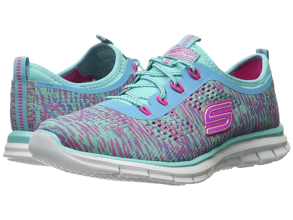 SKECHERS KIDS - Glider - Deep Space 81287L (Little Kid/Big Kid) (Turquoise/Hot Pink) Girl's Shoes