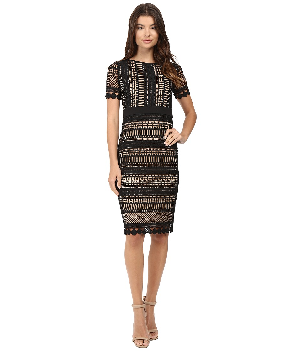 rsvp - Enna Crochet Lace Bodycon Midi Dress (Black/Nude) Women's Dress