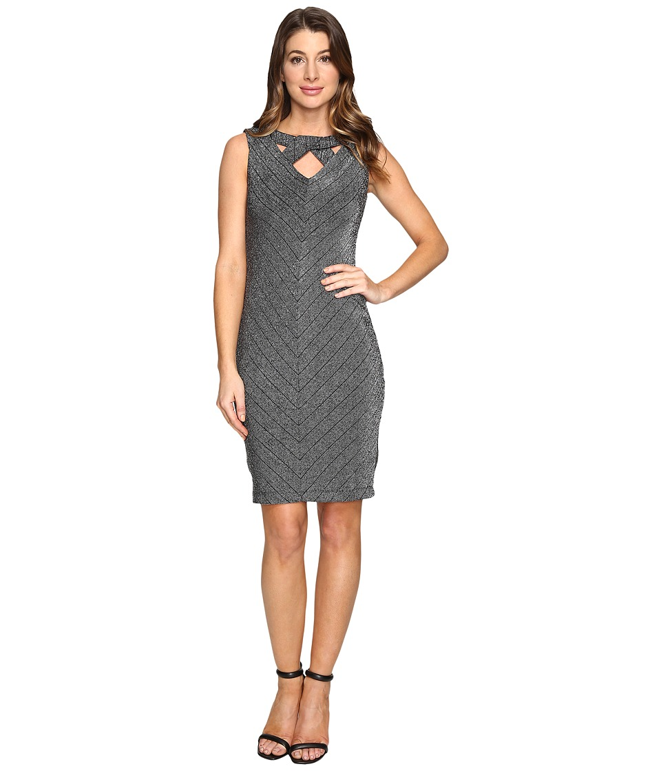 rsvp - Azalea Metallic Bodycon Midi Dress (Silver) Women's Dress