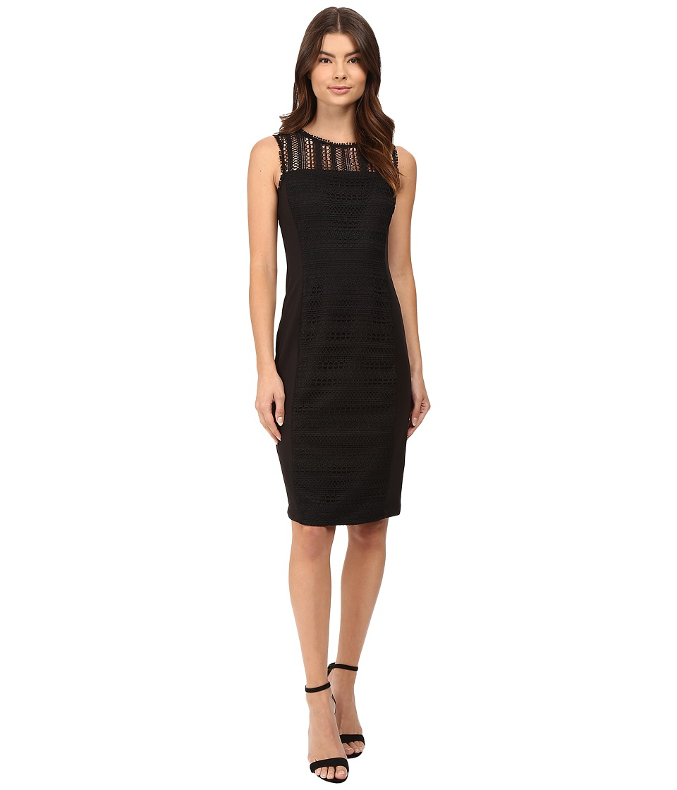 rsvp - Ayanna Lace Overlay Midi Dress (Black) Women's Dress