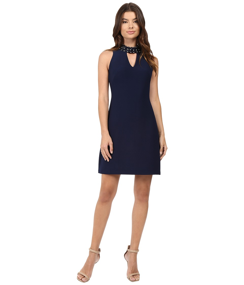 rsvp - Avani Crepe Dress with Collar Detail (Midnight) Women's Dress