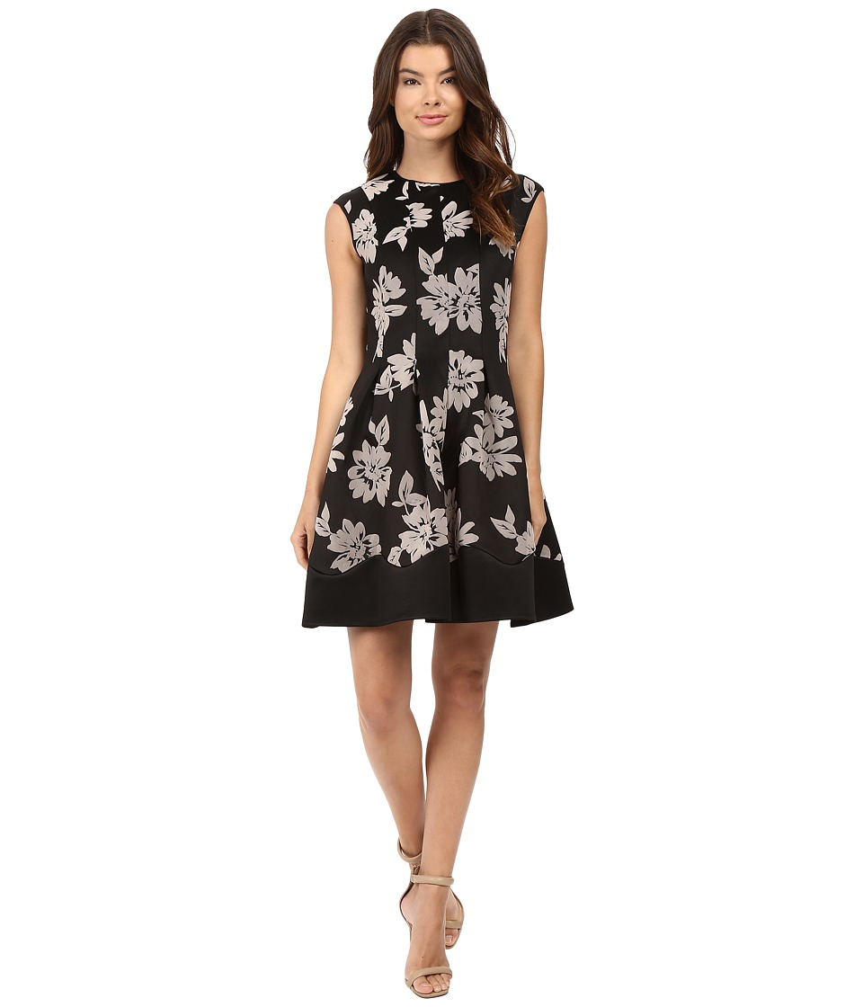 rsvp - Kahea Flocked Scuba Fit and Flare Dress (Black/Taupe) Women's Dress