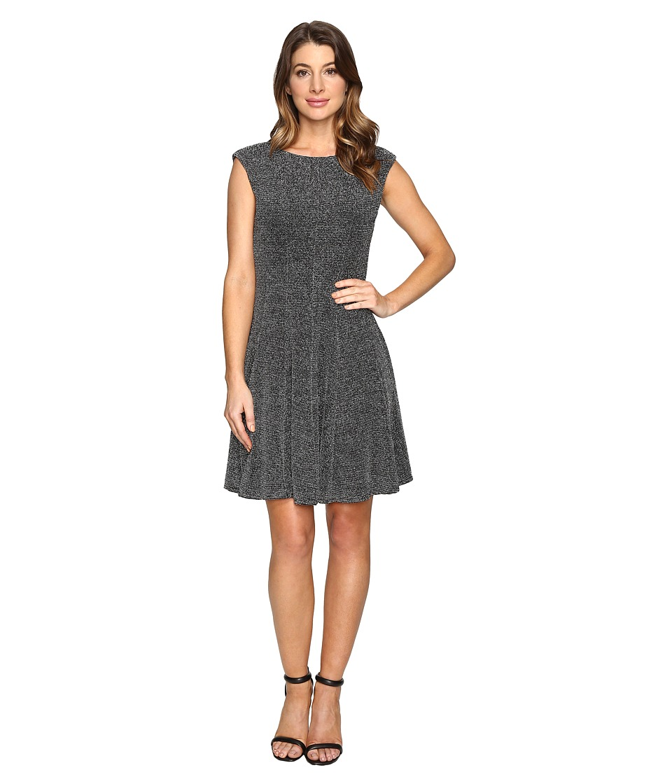 rsvp - Dahlia Sparkle Knit Fit and Flare (Silver) Women's Dress