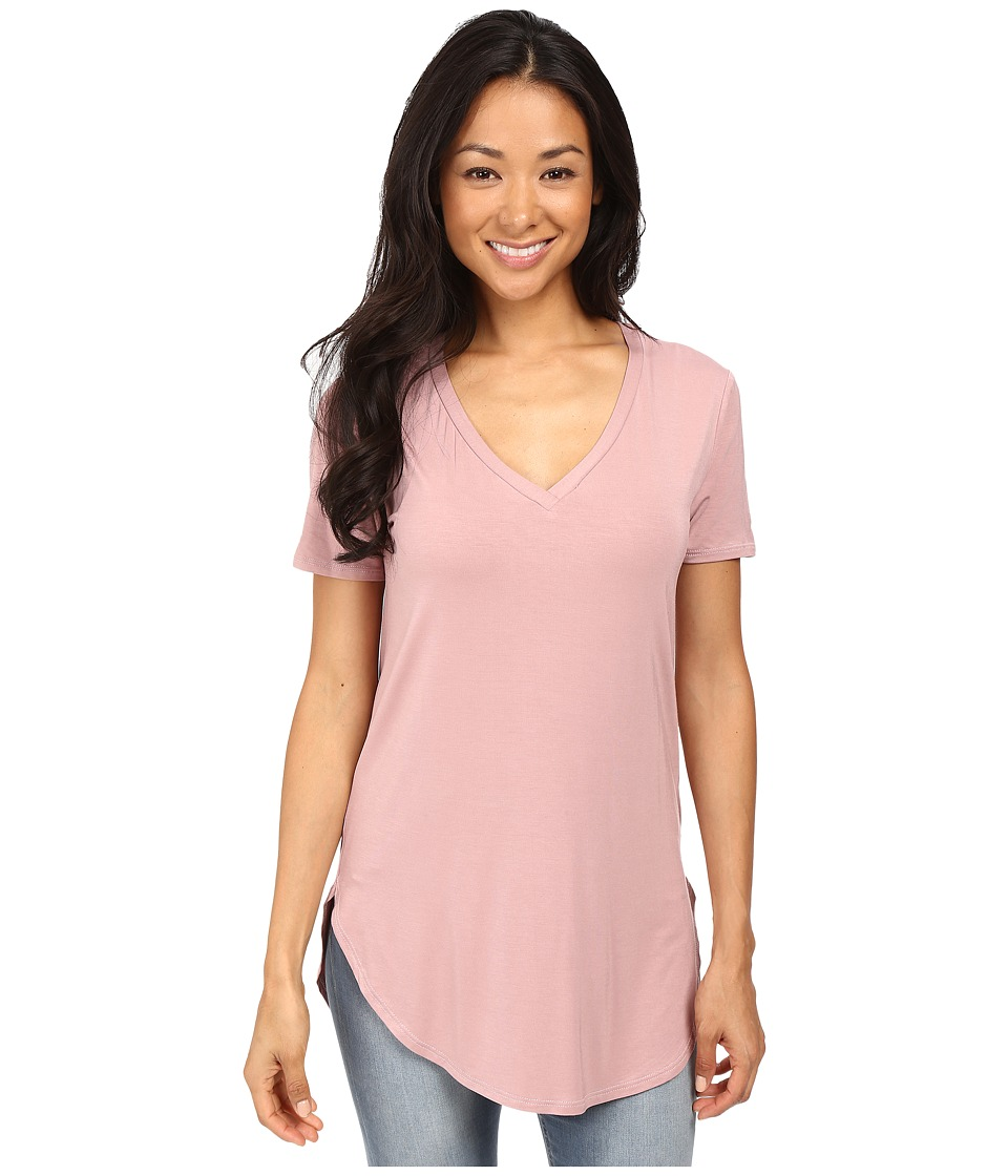 Culture Phit - Preslie Cap Sleeve Modal V-Neck Top (Mauve) Women's Clothing