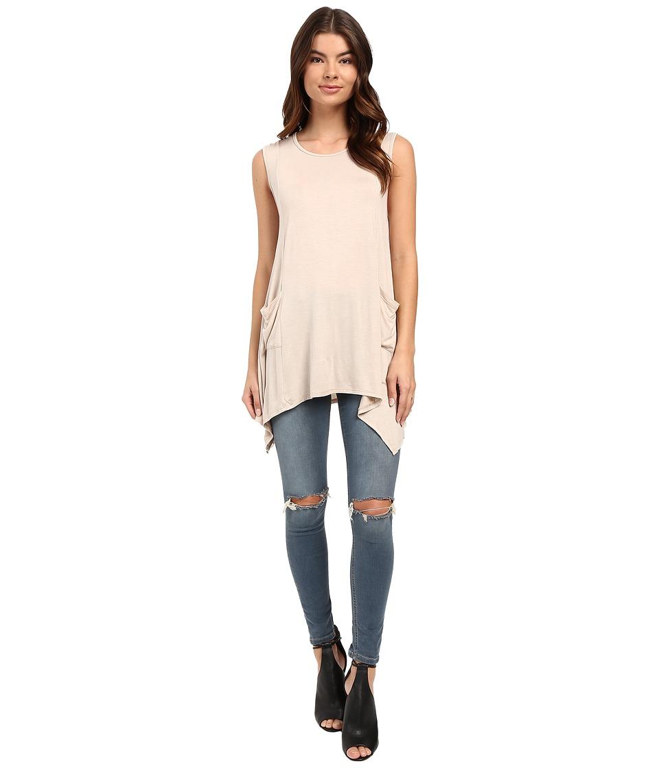 Culture Phit - Katya Sleeveless Tunic with Side Pocket (Beige) Women's Sleeveless