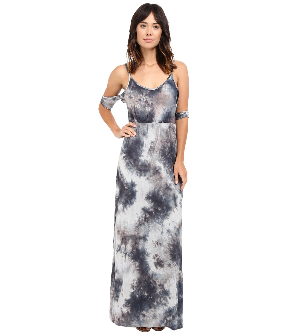 Culture Phit - Mila Tie-Dye Cold Shoulder Maxi Dress with Slit (Grey Tie-Dye) Women's Dress