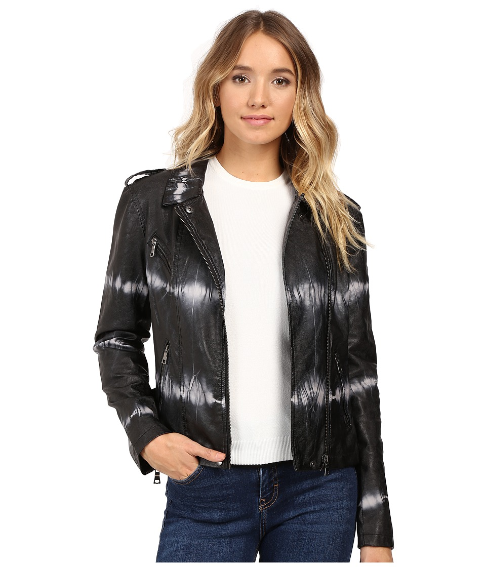 Brigitte Bailey - Skylar Faux Leather Tie-Dye Jacket (Black/White) Women's Coat