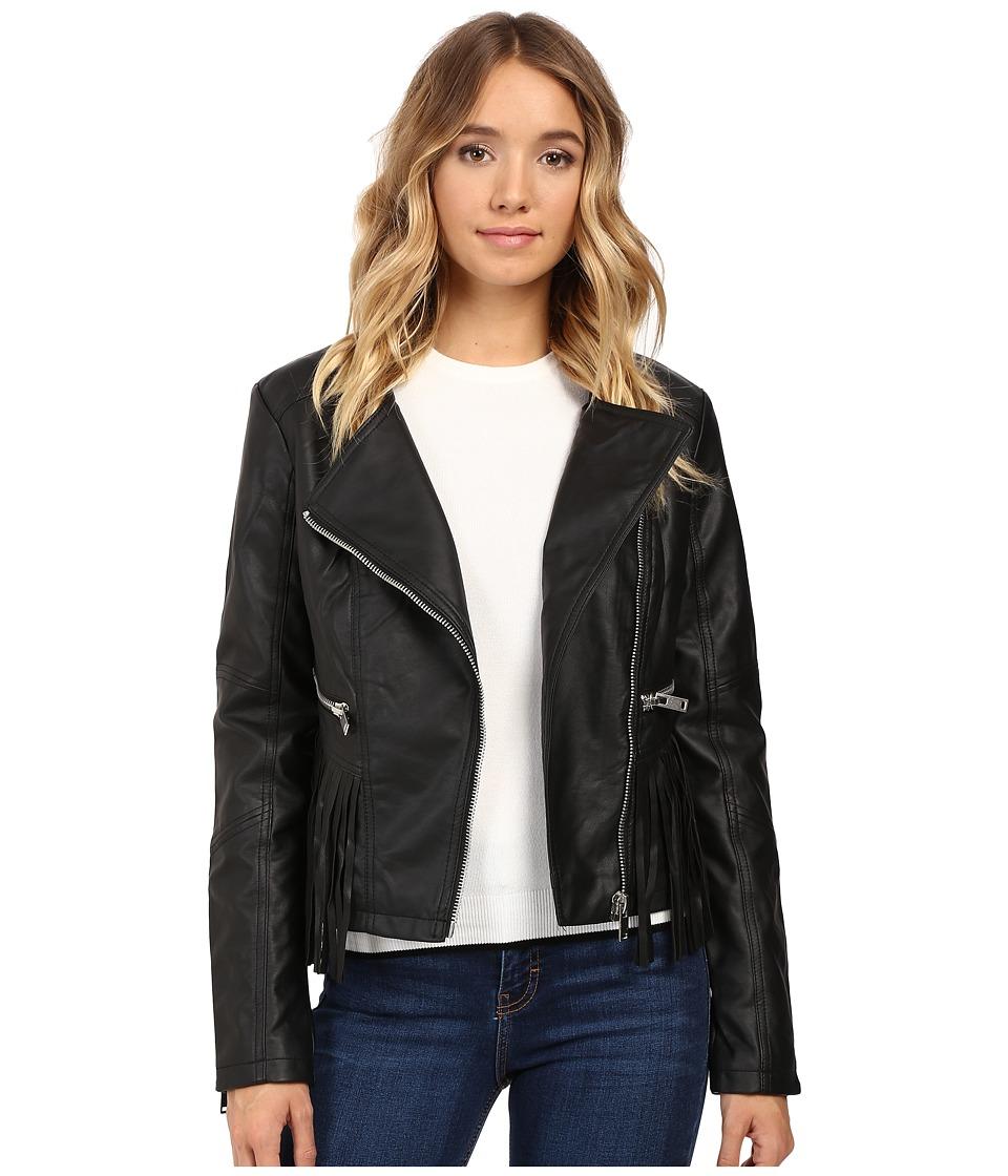 Brigitte Bailey - Lowri Faux Leather Jacket with Fringe (Black) Women's Coat