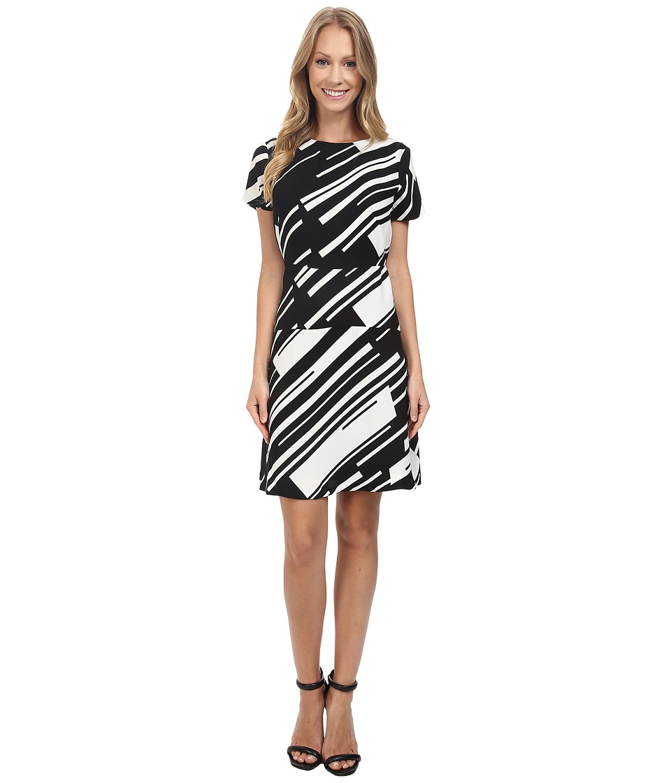 Vince Camuto - Cap Sleeve Graphic Wave Flare Dress (Rich Black) Women's Dress
