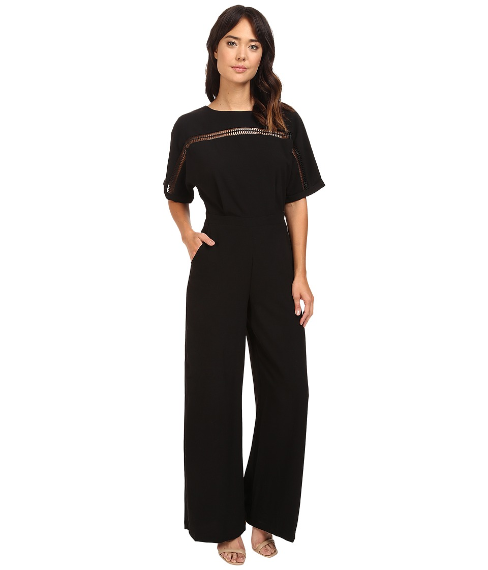 Adelyn Rae - Woven Jumpsuit w/ Kimono Sleeves (Black) Women's Jumpsuit & Rompers One Piece