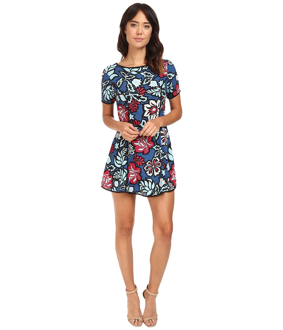 Adelyn Rae - Printed Woven Skort Romper (Navy) Women's Jumpsuit & Rompers One Piece