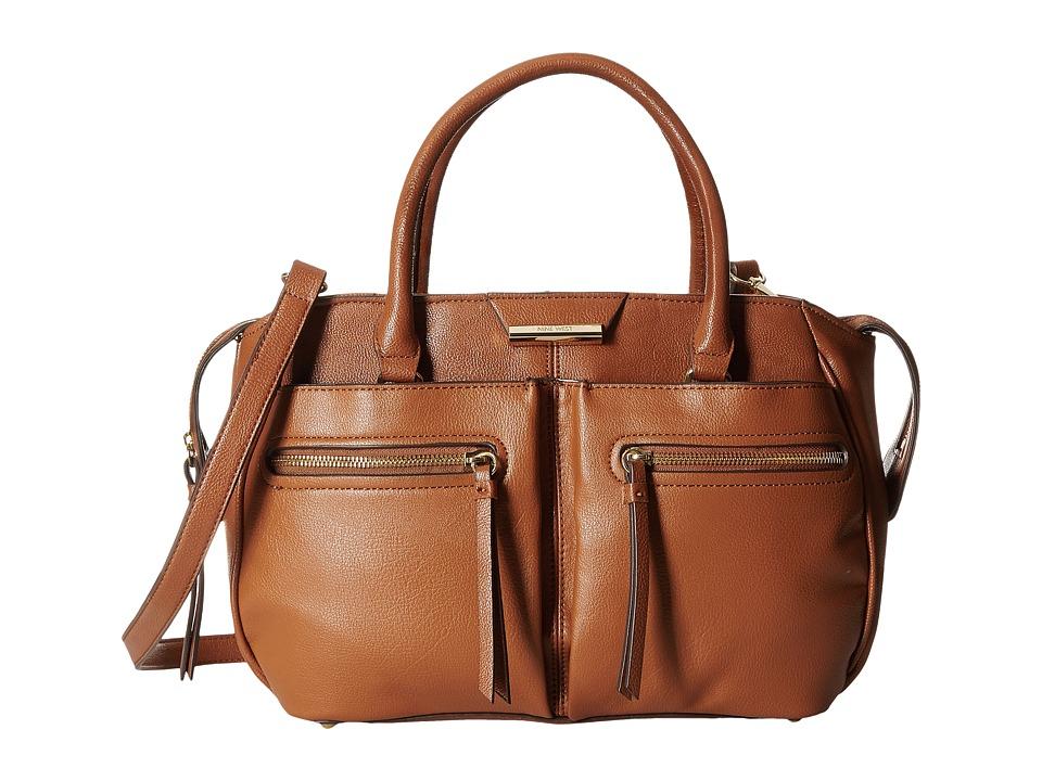 Nine West - Just Zip It Medium Satchel (Cognac) Satchel Handbags