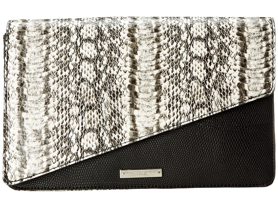 Nine West - Strong Angles Medium Clutch (Black/White) Clutch Handbags