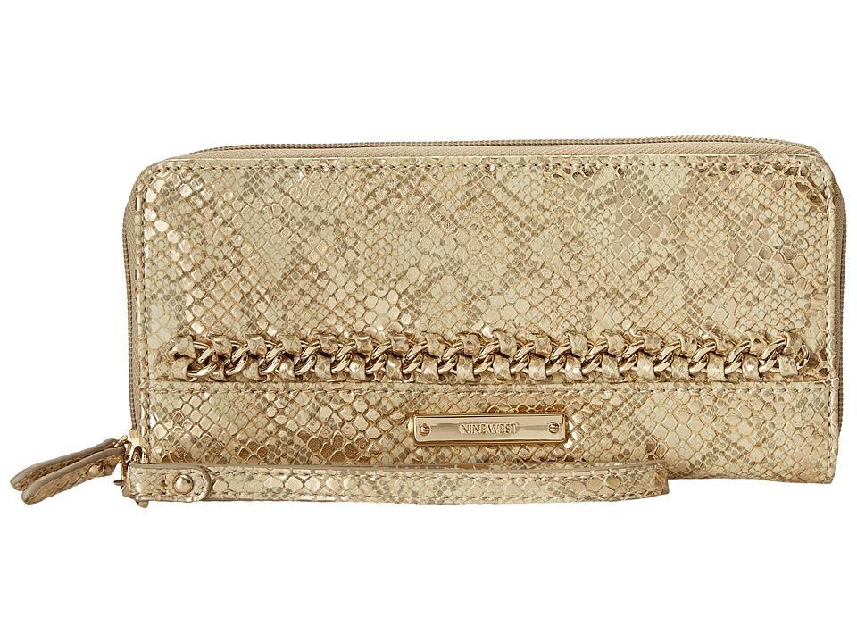 Nine West - Off The Chain Zip Around Wallet (Metallic Gold) Wallet Handbags